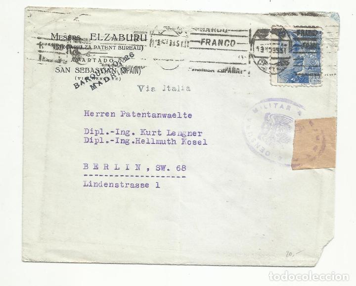 CIRCULADA 1939 DE SAN SEBASTIAN A BERLIN ALEMANIA CON CENSURA MILITAR (Sellos - España - Guerra Civil - Locales - Cartas)