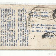 Sellos: POSTAL CIRCULADA 1938 DE ZARAGOZA A EL PITO CUDILLERO ASTURIAS CON CENSURA MILITAR. Lote 289542593