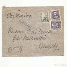 Sellos: CIRCULADA 1939 DE BARCELONA A BIARRITZ FRANCIA CON CENSURA Y RODILLO COTE BASQUE AL DORSO. Lote 289550713