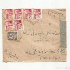 Sellos: CIRCULADA 1938 DE LA GARRIGA BARCELONA A LE POUJOL HERAULT FRANCIA CON CENSURA REPUBLICANA. Lote 289551093