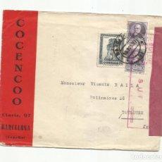 Sellos: CIRCULADA 1937 DE BARCELONA A TOULOUSE FRANCIA CON CENSURA REPUBLICANA. Lote 289551288
