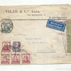 Sellos: CIRCULADA 1937 DE BARCELONA A PARIS FRANCIA CON CENSURA REPUBLICANA. Lote 289553203