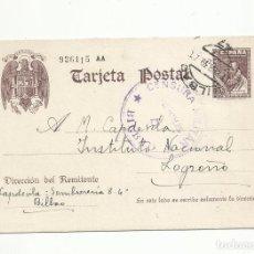 Sellos: ENTERO POSTAL EDIFIL 83 CIRCULADA 1939 DE BILBAO A LOGROÑO CON CENSURA MILITAR. Lote 289554213