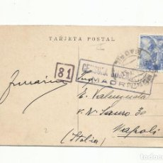 Sellos: POSTAL CIRCULADA 1943 DE MADRID A NAPOLI CON CENSURA GUBERNATIVA. Lote 289554743