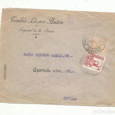 Sellos: CIRCULADA 1938 DE FREGENAL BADAJOZ A BANCO HISPANOAMERICANO SEVILLA CON CENSURA MILITAR SELLO LOCAL. Lote 289555273