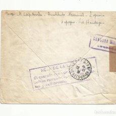 Sellos: CIRCULADA 1938 DE LOGROÑO A CABESTANY FRANCIA CON CENSURA MILITAR Y NOTA DE LA CENSURA. Lote 289561843