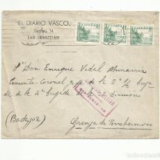 Sellos: CIRCULADA 1938 DE DIARIO VASCO SAN SEBASTIAN A LA GRANJA FRENTE DE EXTREMADURA CON CENSURA MILITAR. Lote 289563138