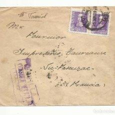 Sellos: CIRCULADA 1939 DE SEVILLA A VIC FRANCIA CON CENSURA MILITAR Y SELLO LOCAL. Lote 289565953