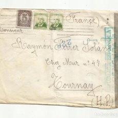 Sellos: CIRCULADA 1938 A TOURNAY FRANCIA CON CENSURA REPUBLICANA. Lote 289566253