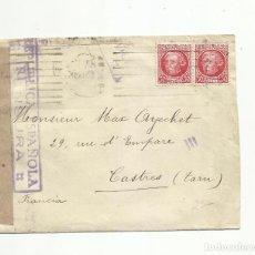 Sellos: CIRCULADA 1938 DE BARCELONA A CASTRES FRANCIA CON CENSURA REPUBLICANA. Lote 289566713