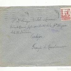 Sellos: CIRCULADA 1938 DE LA CORUÑA A LA GRANJA FRENTE DE BADAJOZ CON CENSURA MILITAR. Lote 289566993