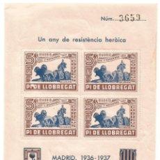 Sellos: PI DE LLOBREGAT UN ANY DE RESISTENCIA HEROICA MADRID 1936 1937 HOJA Nº 3659. Lote 289720313