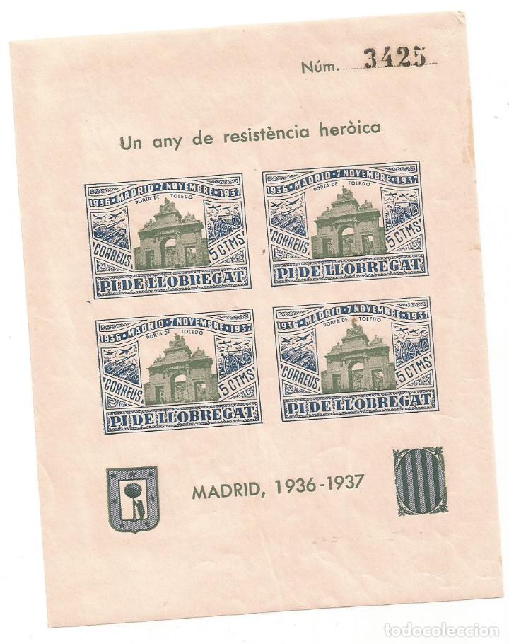 PI DE LLOBREGAT UN ANY DE RESISTENCIA HEROICA MADRID 1936 1937 HOJA Nº 3425 (Sellos - España - Guerra Civil - Locales - Nuevos)