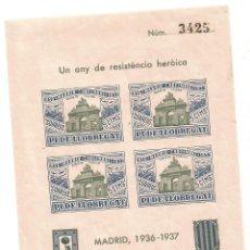Sellos: PI DE LLOBREGAT UN ANY DE RESISTENCIA HEROICA MADRID 1936 1937 HOJA Nº 3425. Lote 289721058