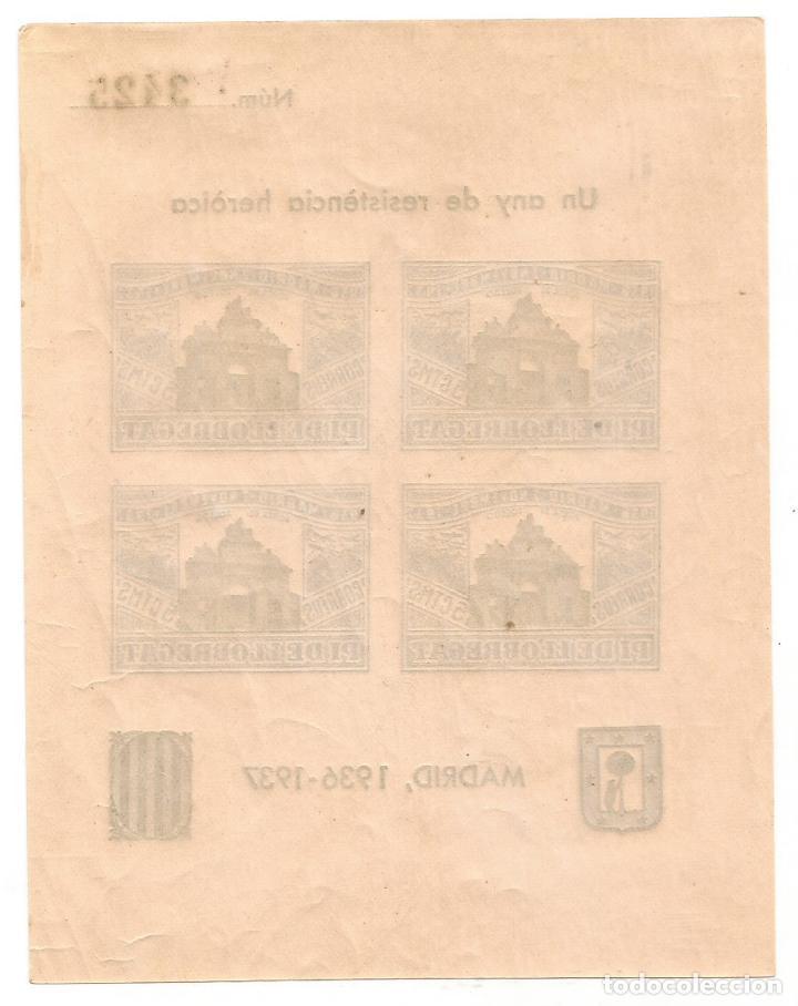 Sellos: PI DE LLOBREGAT UN ANY DE RESISTENCIA HEROICA MADRID 1936 1937 HOJA Nº 3425 - Foto 2 - 289721058