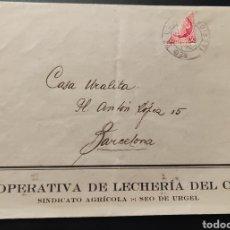 Sellos: CARTA COOPERATIVA DE LECHERIA DEL CADÍ LA SEU DE URGELL SELLO BISECTO LLERIDA 1938. Lote 289865423