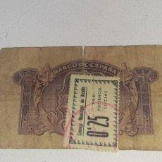 Selos: BILLETE 5 PESETAS 1935 CONSEJO MUNICIPAL DE ALCAÑIZ 0.25 SELLO PRO ASISTENCIA SOCIAL GUERRA CIVIL. Lote 290489013
