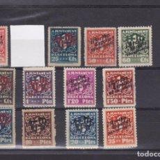 Selos: FC2-139- FISCALES LOCALES ATº BARCELONA SOBRECARGA ARRIBA ESPAÑA 1939 X 13 VALORES. Lote 291234718