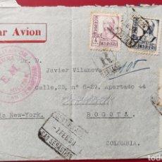 Francobolli: ESPAÑA CARTA ENVIADA A COLOMBIA CENSURA SAN SEBASTIÁN SELLO ISABEL 4 PTAS POR AVIÓN 1938. Lote 291499418