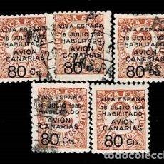 Sellos: CL8-17 GUERRA CIVIL CANARIAS AVION FESOFI Nº 5 CONJUNTO DE 5 EJEMPLARES NUEVOS Y USADOS VER. Lote 292131178