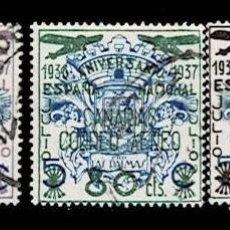 Sellos: CL8-17 GUERRA CIVIL CANARIAS FESOFI Nº 31-33 CORREO AEREO SERIE COMPLETA USADA. T.CC. Lote 292131618