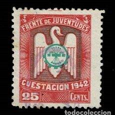 Sellos: 0227 GUERRA CIVIL - FRENTE DE JUVENTUDES CUESTACION 1942 VALOR 25 CTS. COLOR ROSA Y VERDE USADO. Lote 292158848