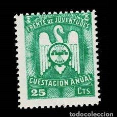 Selos: 0227 GUERRA CIVIL - FRENTE DE JUVENTUDES CUESTACION ANUAL VALOR 25 CTS. PAPEL BLANCO COLOR VERDE SIN. Lote 292160623