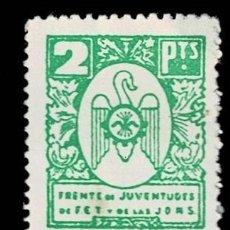 Selos: 0227 GUERRA CIVIL - FRENTE DE JUVENTUDES DE FET Y DE LAS JONS VALOR 2 PTAS. PAPEL BLANCO COLOR VERDE. Lote 292161028