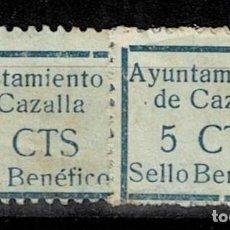 Sellos: CL8-19 GUERRA CIVIL CAZALLA DE LA SIERRA FESOFI Nº 7 VARIEDAD TAMAÑO DE MARCO DISTINTO COLOR AZUL U. Lote 292393328