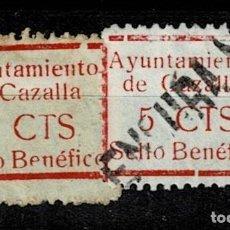 Sellos: CL8-19 GUERRA CIVIL CAZALLA DE LA SIERRA FESOFI Nº 9 VARIEDAD TAMAÑO DE MARCOS DISTINTOS COLOR ROJO. Lote 292394263