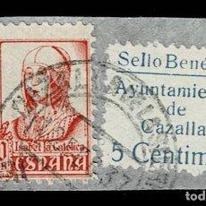 Sellos: CL8-19 GUERRA CIVIL CAZALLA DE LA SIERRA FESOFI Nº 3 SOBRE FRAGMENTO COLOR AZUL CLARO VER. Lote 292398068