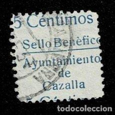 Sellos: CL8-19 GUERRA CIVIL CAZALLA DE LA SIERRA FESOFI Nº 3 VARIEDAD (5 CENTIMOS) ARRIBA, PAPEL ORDINARIO. Lote 292398378