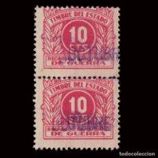 Sellos: 1938.RECARGO TRANSITORIO DE GUERRA. 10C.BLQ2 USADO.GALVEZ 99. Lote 293173933