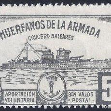 Selos: HUÉRFANOS DE LA ARMADA. CRUCERO BALEARES 5 PTS. (VARIEDAD...LATERAL DERECHO SIN DENTADO). MNH **. Lote 293355213