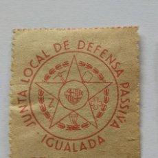 """Sellos: VIÑETA GUERRA CIVIL """"JUNTA LOCAL DE DEFENSA PASSIVA"""" IGUALADA. Lote 293361118"""