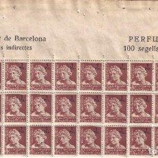 Francobolli: AYUNTAMENT DE BARCELONA. IMPOSTOS INDIRECTES PERFUMERÍA. BLOQUE DE 30 SELLOS FISCALES. MNH **. Lote 293595008