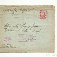 Sellos: CIRCULADA 1937 DE SAN SEBASTIAN A AVILES ASTURIAS CON CENSURA MILITAR. Lote 293613878