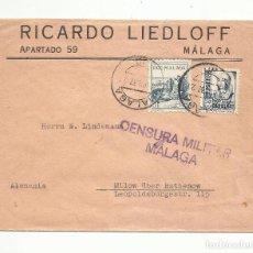Sellos: CIRCULADA 1937 DE MALAGA A ALEMANIA CON CENSURA MILITAR. Lote 293615598