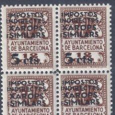 Francobolli: AJUNTAMENT DE BARCELONA. SOBRECARGA XAROPS I SIMILARS 5 CTS. (BLOQUE DE 4). MNH **. Lote 293648313