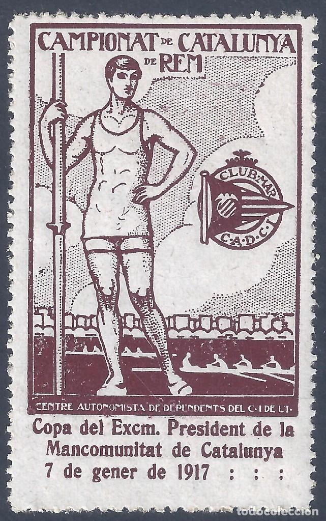 CAMPIONAT DE CATALUNYA DE REM 1917. MUY ESCASO. LUJO. MNH ** (Sellos - España - Guerra Civil - Viñetas - Nuevos)