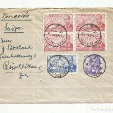 Sellos: CIRCULADA 1940 DE BARCELONA A ZURICH SUIZA CON CENSURA. Lote 293699088