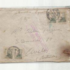 Sellos: CIRCULADA 1939 DE CORDOBA A AVILES ASTURIAS CON CENSURA MILITAR. Lote 293699443