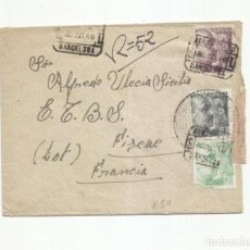 Sellos: CIRCULADA 1940 DE BARCELONA A FIGEAC FRANCIA CON CENSURA. Lote 293700043
