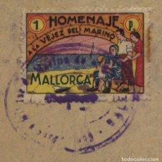 "Sellos: GUERRA CIVIL, VIÑETA, HOMENAJE A LA VEJEZ DEL MARINERO"", VALOR: 1 PESETA, 1938, MALLORCA. Lote 293704398"