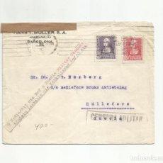 Sellos: CIRCULADA 1939 DE BARCELONA A SUECIA CON CENSURA MILITAR. Lote 293740203