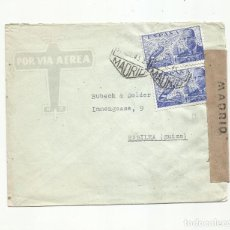 Sellos: CIRCULADA 1943 DE MADRID A BASILEA SUIZA CON CENSURA GUBERNATIVA. Lote 293780678