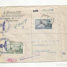 Sellos: CIRCULADA 1943 DE DE BARCELONA A TUREBERG SUECIA CON CENSURA GUBERNATIVA Y NAZI. Lote 293780998