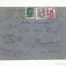 Sellos: 1939 CAPELLAN CORDOBA A BARCELONA FRANQUICIA CARROS DE COMBATE CON CENSURA MILITAR Y SELLO LOCAL. Lote 293782323