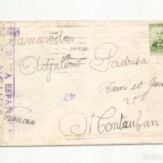 Sellos: CIRCULADA 1937 A MONTAUBAN FRANCIA CON CENSURA REPUBLICANA. Lote 293919653