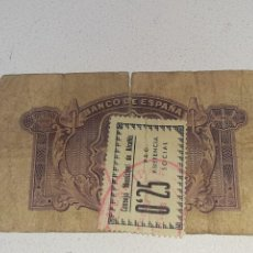 Sellos: BILLETE 5 PESETAS 1935 CONSEJO MUNICIPAL DE ALCAÑIZ 0.25 SELLO PRO ASISTENCIA SOCIAL GUERRA CIVIL. Lote 294067733